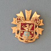 Vintage Beautiful Enameled Lion and Fleur die lys Shield Crest Pin