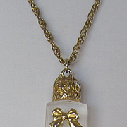 Darling Vintage Faux Perfume Bottle with Bow Necklace