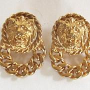 Vintage Pierced Gold Tone Roaring Lion Head Earrings