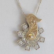 Handcrafted Vintage 10K Gold and Sterling Silver Rotating Spur Rowel Necklace