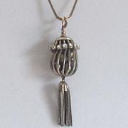 SALE Vintage Chain Pendant Necklace-Tassel,Birdcage,Faux Pearl