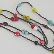 SALE Vintage Italian Glass Bead Necklace
