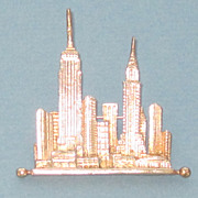 Vintage NYC Cityscape Gold Plated Brooch/Pin