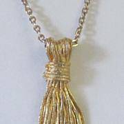 Vintage Gold Tone Tassel Pendant Necklace