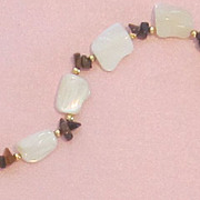 Vintage Mother of Pearl and Tumbled Agate Bracelet