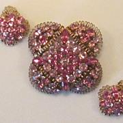 Vintage Lisner Pink Rhinestone Brooch and Earrings Set