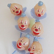 Six Mid- Century Wonderful Clown Cake Decorations
