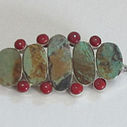 SALE Bold Vintage Turquoise, Coral Necklace Pendant-Brooch