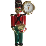 Toy Soldier Brooch with Clock