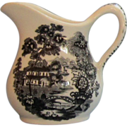 Vintage Royal Staffordshire  Black Transferware Cream Pitcher