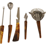 5 Piece Marbled Brown Bakelite Bar Set Utensils