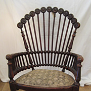 Mahogany Lollipop Chair with Needle Point Seat