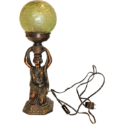 Art Deco Lamp of Kneeling Woman with Green Globe