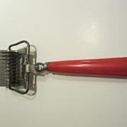 SALE Vintage Red Bakelite Rolling Mincer Chopper Kitchen Utensil