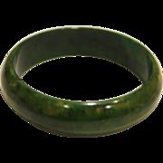 """SALE Marbled Green Bakelite Bangle Bracelet 3/4"""" Wide"""