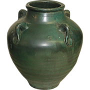 SALE Red Ware Vase - Ovoid with Matte Green Glaze