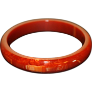Marbled Red Bakelite Bangle Bracelet