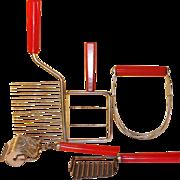 Lot 5 Red Bakelite Kitchen Utensils - Cheese Slicer Cake Breaker Pastry Blender Chopper and ..