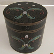 Round Black Enameled Tin with  Cloisonne