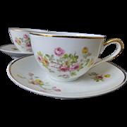 Limoges France Porcelain Teacup set of 4 c 1920