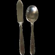 REDUCED Vintage  Onieda Community Grosvenor Pattern Butter Knife and Sugar Spoon 1920s