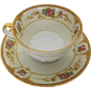 Noritake China Allure Footed Teacup and Saucer C 1933
