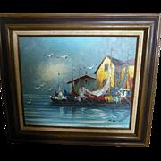 Vintage framed oil Harbor Scene by artist Morgan
