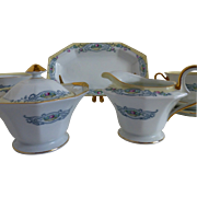 PT Bavaria hand painted Beaumont sugar creamer and cracker tray c 1969