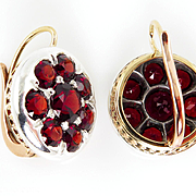 Victorian Era European 10.26ct Deep Red Garnet Pendent Dangling EARRINGS in 14k Rose Gold and