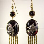 Authentic and Rare...English Victorian Fringed EARRINGS of the 1870s with Garnet and Diamonds