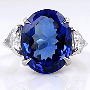 Rare GIA Vintage Estate 11.45ct Oval TANZANITE Deep AAA Violetish Blue Diamond Platinum Trilog