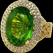 GIA 15.05ct Estate Vintage Oval Vivid GREEN Golden PERIDOT Diamond 18k Yellow Gold Ring