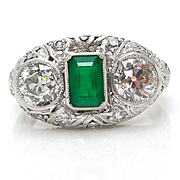 Early Art Deco Antique Vintage 2.72ct Green Emerald and OLD Euro Diamond Engagement Anniversar