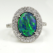 Vintage 4.02ct Diamond and Australian Lighting Ridge Black Opal Cluster Platinum Ring