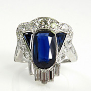 "Dazzling Art Deco GIA ""NO HEAT"" 4.25Ct Sapphire Diamond Cluster Ring in Platinum, Ci"