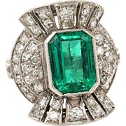 Vintage GIA 5.25ctw COLOMBIAN Green EMERALD and Old Cut Diamond 18k Ring