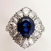 Magnificent 1950s CARTIER 7.15ct Natural UNHEATED Blue Sapphire Diamond Balerrina Halo Platinu