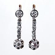 Art Deco 1920s..1.02ct OLD Mine cut Diamond Drop HANGING Platinum and 18K EARRINGS