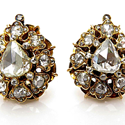 Authentic Victorian 3.00ctw Old Mine Rose Cut Diamond Cluster Gold Stud EARRINGS