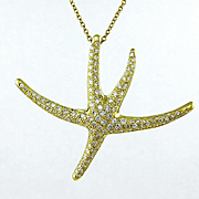 Authentic Retired TIFFANY & CO 1.25ct Large STARFISH Pave Diamond 18k Yellow Gold Pendant Neck