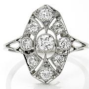 Edwardian Diamond and Platinum 0.85ctw Dinner Cocktail Ring