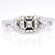 Art Deco GIA 1.23ct Antique Vintage Asscher, Square Emerald Cut Diamond Engagement PLATINUM Ri