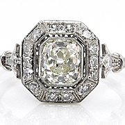 Vintage 1.25ct Old Mine CUSHION Diamond Solitaire Engagement Pave, Wedding Band in Platinum