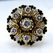 "Vintage ""Revived Victorian"" 1.25ct Diamond Engagement Enamel Flower Cluster Cocktail"
