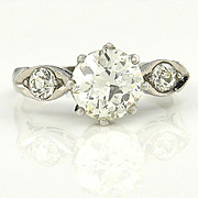 1.39ct Old European Cut Diamond EGL USA Certified In Circa 1920 Art Deco Original Diamond Enga
