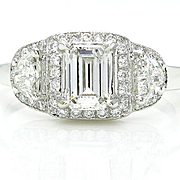 Colorless 1.50ct Estate Vintage Emerald Cut Diamond Three Stone ENGAGEMENT Ring