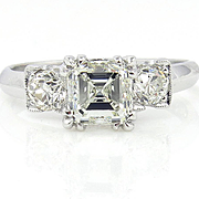 Art Deco GIA 1.54ct Vintage Asscher, Square Emerald Cut Diamond Engagement PLATINUM Trilogy Ri
