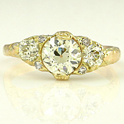 1.55CT Authentic Victorian Antique Vintage Old European Trilogy Engagement Ring 18k Yellow Gol
