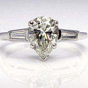 GIA 1.60ct Estate Vintage Solitaire PEAR Shaped and Baguettes Diamond Engagement, Anniversary