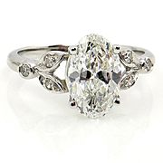 Vintage 2ct OVAL Cut Diamond Engagement Wedding Ring in Platinum